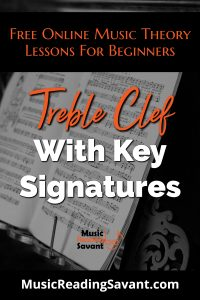 treble clef with key signatures