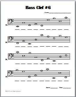 Beat The Clock: Treble Clef & Bass Clef Worksheets (Printable ...