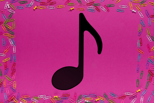 Black Eighth Note Music Paper Clips